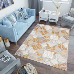 ASTHANE Teppich Kurzflor Creme Grau Gelb Modern Figuren Meliert
