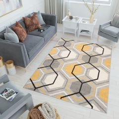 LAZUR Teppich Kurzflor Modern Grau Creme Gelb