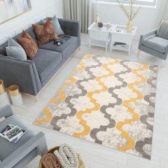 LAZUR Tapis Moderne Géométrique Marocain Jaune Gris Blanc Frise