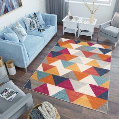LAZUR Tapis Moderne Géométrique Triangles Rose Multicolore Frise