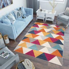 LAZUR Tapis Moderne Géométrique Triangles Orange Multicolore Frise