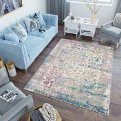 LAZUR Teppich Kurzflor Bunt Blau Ornament Design Floral
