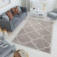 LAZUR Teppich Kurzflor Modern Marokkanisch Grau Creme