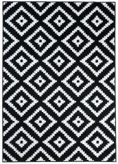 LUXURY Area Rug Modern Short Pile Diamond Geometric Black White