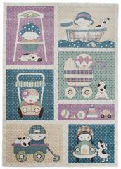 HAPPY Teppich Kurzflor Modern Kinderteppich Rosa Blau Fahrzeuge