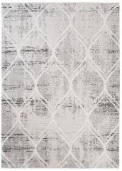 TROYA Area Rug Cream Light Grey Round Trellis Durable Carpet