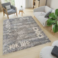 VERSAY Boho Shaggy Area Rug Ethno Dark Grey High Pile Durable