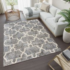 VERSAY Shaggy Area Rug Moroccan Trellis Dark Grey Durable Carpet
