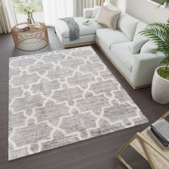 VERSAY Shaggy Area Rug Moroccan Trellis Grey Durable Carpet