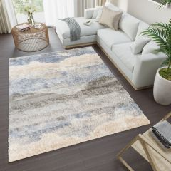 VERSAY Shaggy Modern Area Rug Abstract Blue Cream Durable Carpet