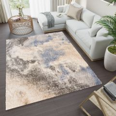 VERSAY Shaggy Modern Area Rug Abstract Multicolour Cream Durable