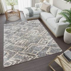 VERSAY Area Rug Shaggy Ethno Pattern Dark Grey Durable Carpet