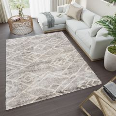 VERSAY Area Rug Shaggy Ethno Pattern Grey Durable Carpet
