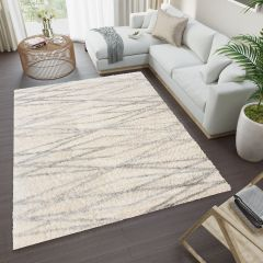 VERSAY Shaggy Area Rug Abstract Geometric Lines Cream Durable