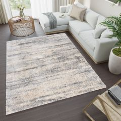 VERSAY Shaggy Area Rug Abstract Lines Grey Durable Carpet