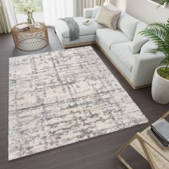 VERSAY Shaggy Area Rug Designer Abstract Lines Cream Grey