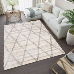 VERSAY Boho Shaggy Area Rug Diamond Cream Grey Durable