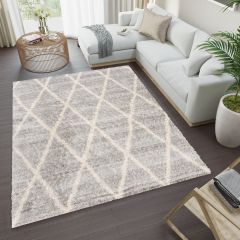 VERSAY Boho Shaggy Area Rug Diamond Grey Cream Durable Carpet