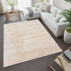 VERSAY Shaggy Area Rug Plain Beige High Pile Durable Carpet
