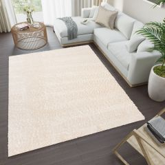 VERSAY Shaggy Area Rug Plain Cream High Pile Durable Carpet