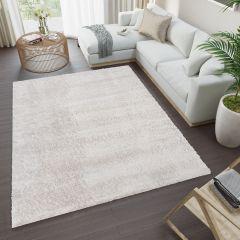 VERSAY Shaggy Area Rug Plain Light Grey High Pile Durable