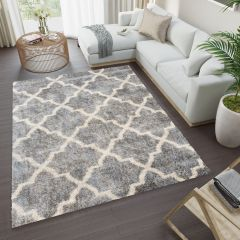 VERSAY Shaggy Area Rug Trellis Dark Grey High Pile Durable