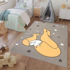 LUNA KIDS Kinderteppich Orange Creme Grau Füchse