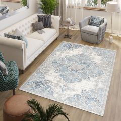 VALLEY Area Rug Vintage White Blue Floral Ornamental Durable