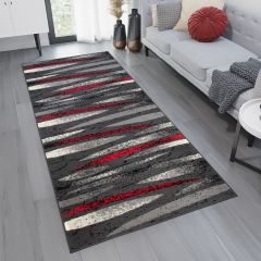 DREAM Carpet Runner Modern Abstract Stripes Durable Dark Grey