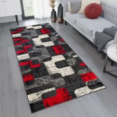 DREAM Carpet Runner Modern Geometric Flecked Hall Dark Grey Red