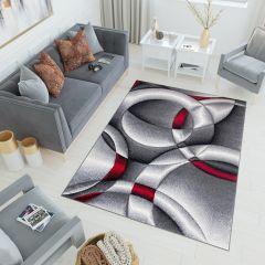 SUMATRA Teppich Kurzflor 3D Effekt Grau Rot Kreise Modern