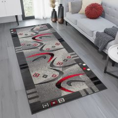 DREAM Carpet Runner Modern Abstract Shapes Durable Grey Red
