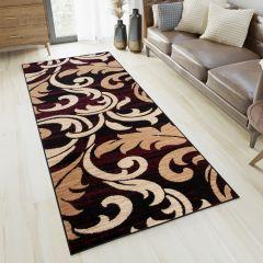 DREAM Läufer Teppich Modern Schwarz Beige Rot Floral