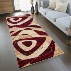 DREAM Carpet Runner Modern Abstract Shapes Hallway Beige Red
