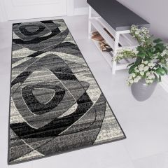 DREAM Carpet Runner Modern Abstract Shapes Hallway Grey Black