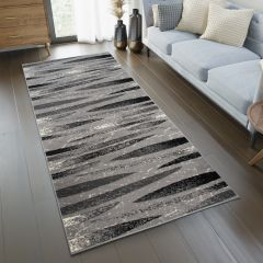 DREAM Carpet Runner Modern Abstract Stripes Durable Light Grey