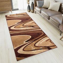 DREAM Carpet Runner Abstract Abstract Waves Durable Brown Beige