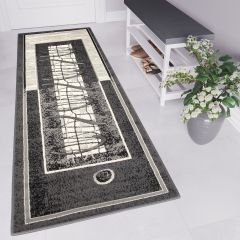 DREAM Carpet Runner Modern Contemporary Abstract Grey Black