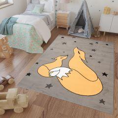 LUNA KIDS Teppich Kurzflor Orange Grau Füchse Kinderzimmer