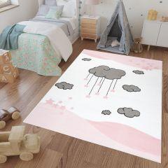 LUNA KIDS Teppich Kurzflor Rosa Creme Grau Wolken