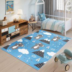 JOLLY Teppich Kurzflor Kinderteppich Spielmatte Blau Grau Koalabär