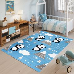 JOLLY Tapis Moderne Jeu Panda Bleu Noir Blanc Fin Doux Résistant