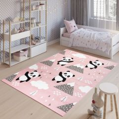 JOLLY Tapis Moderne Jeu Panda Rose Noir Blanc Résistant Doux Fin
