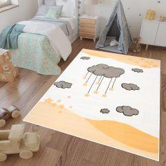 LUNA KIDS Kinderteppich Gelb Orange Creme Grau Wolken