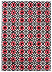 MAYA Vloerkleed Tapijt Grijs Rood Antraciet Bloemen Modern Duurzaam