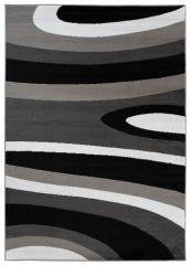 Maya Teppich Kurzflor Modern Gestreift Design Grau Schwarz Weiß