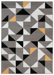 MAYA Area Rug Modern Short Pile Triangles Geometric Grey Yellow
