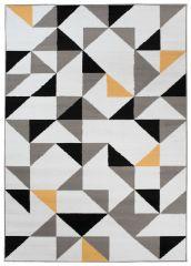 MAYA Vloerkleed Tapijt Wit Geel Grijs Driehoeken Geometrisch Trendy