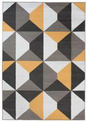 MAYA Area Rug Modern Short Pile Geometric Shapes Grey Yellow
