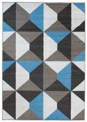 MAYA Vloerkleed Tapijt Zwart Blauw Grijs Trendy Geometrisch Design